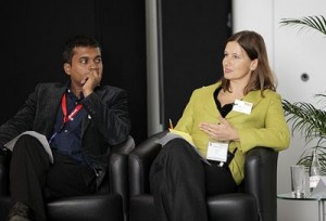 Gopinath Parayil (TBY) with Birgit Steck ( SNV) on 'CSR at work panel'